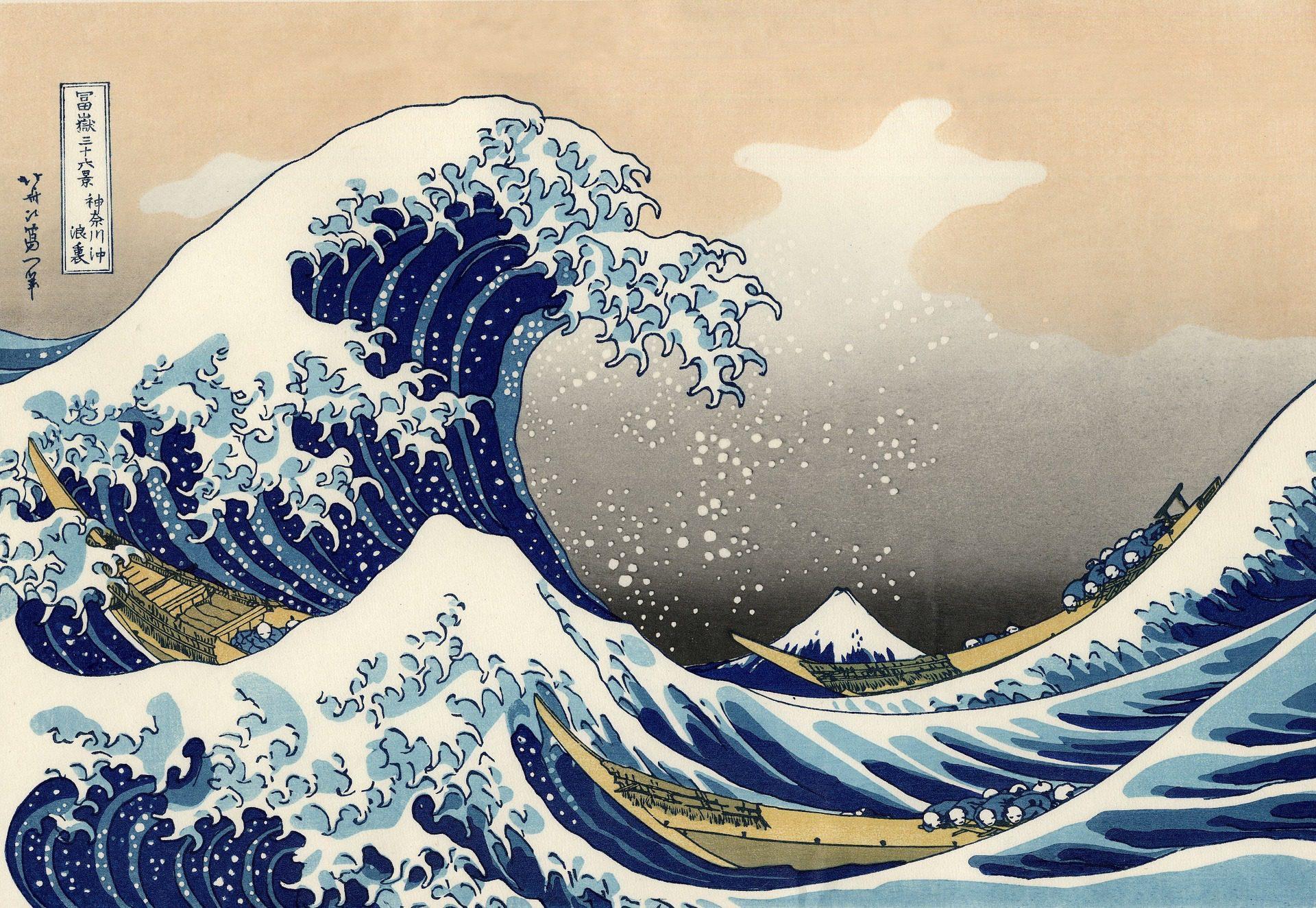 A Onda é uma famosa xilogravura do mestre japonês Hokusai, 1831